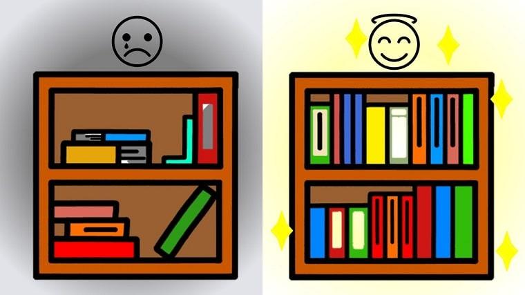 乱雑な本棚と整理された本棚