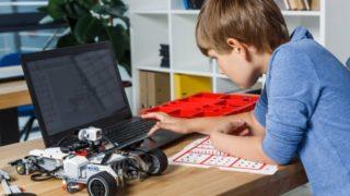 パソコンを操作している子供