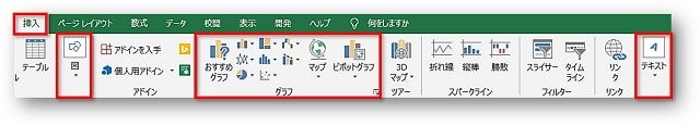 Excel挿入タブと3つのグループ
