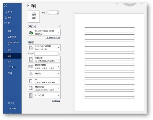 段落罫線印刷プレビュー