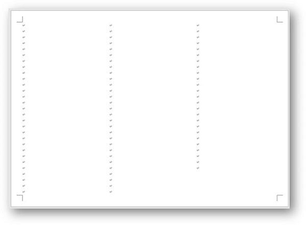 3段組設定後の用紙