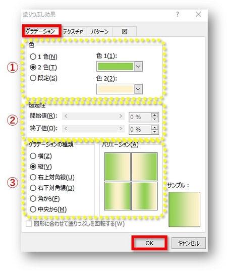 ページの色 グラデーション