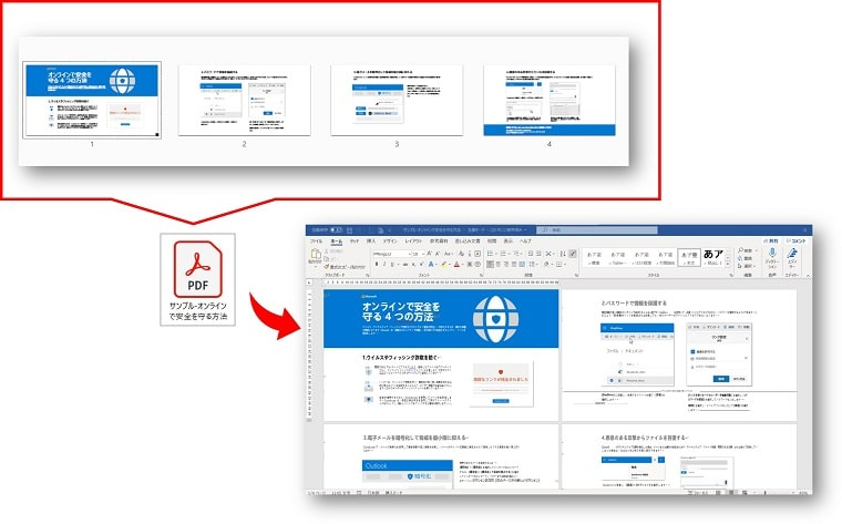 PDF編集ソフト イーザス Wordに変換