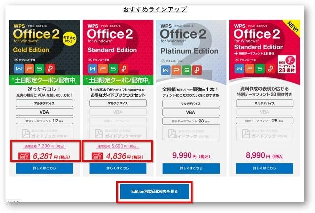 「クーポン利用で」の表示のあるものが通常より安く購入できるソフトです。 「Edition別製品比較表を見る」をクリックすると、製品の詳しい情報を比較しながら観ることができます