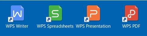 デスクトップ画面に「WPS Office」のアイコンが表示されますので、「Writer」「Spreadsheets」「Presentaition」のいずれかのソフトを起動します。