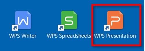プレゼンテーションソフトをダブルクリックで開きます。 ※文書作成ソフト・表計算ソフトでもやり方は同じです。