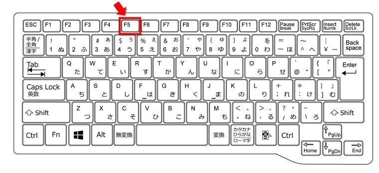 ファンクションキー[F5]表示内容を更新することができます