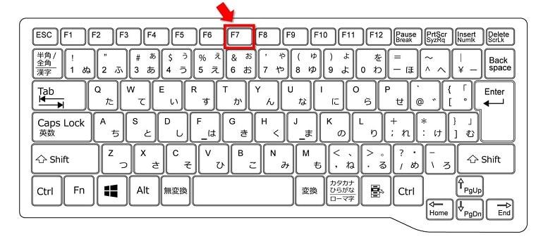ファンクションキー[F7]全角「カタカナ」に変換する